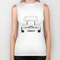 mini cooper Biker Tanks featuring The Italian Job White Mini Cooper by Martin Lucas