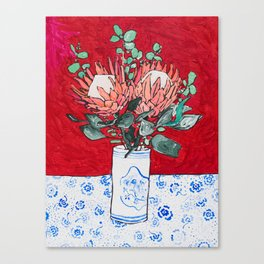 Delft Bird Vase of Proteas on Red Canvas Print