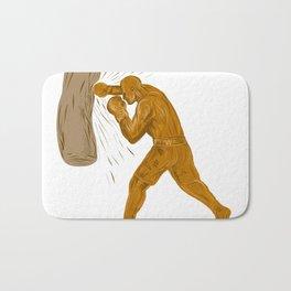 Boxer Punching Bag Drawing Bath Mat
