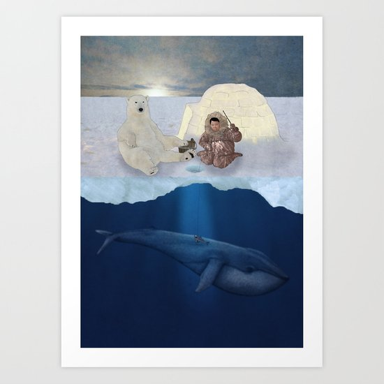 Inuit and Polar bear; Fishing. Full view. Art Print