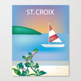St. Croix, Virgin Islands- Skyline Illustration by Loose Petal Canvas Print