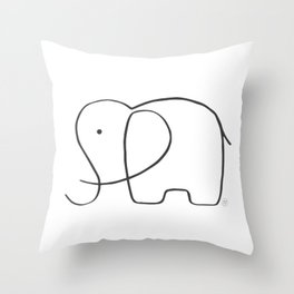 Elephant, one line drawing Throw Pillow