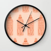 wiz khalifa Wall Clocks featuring Getting crazy with the cheese wiz by Yellow Chair Design