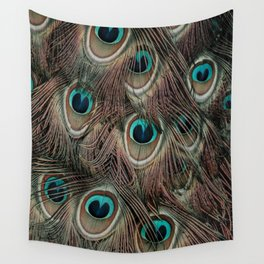 Peacock feathers abstract Wall Tapestry