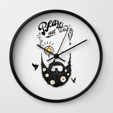 Make Beards not War (typo edition) Wall Clock