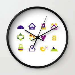 New folk icons : blue yellow Wall Clock