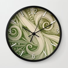 Tangled curves, olive Wall Clock