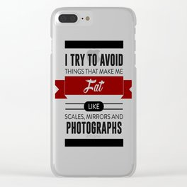Scales Mirrors Photographs Make Me Fat Clear iPhone Case