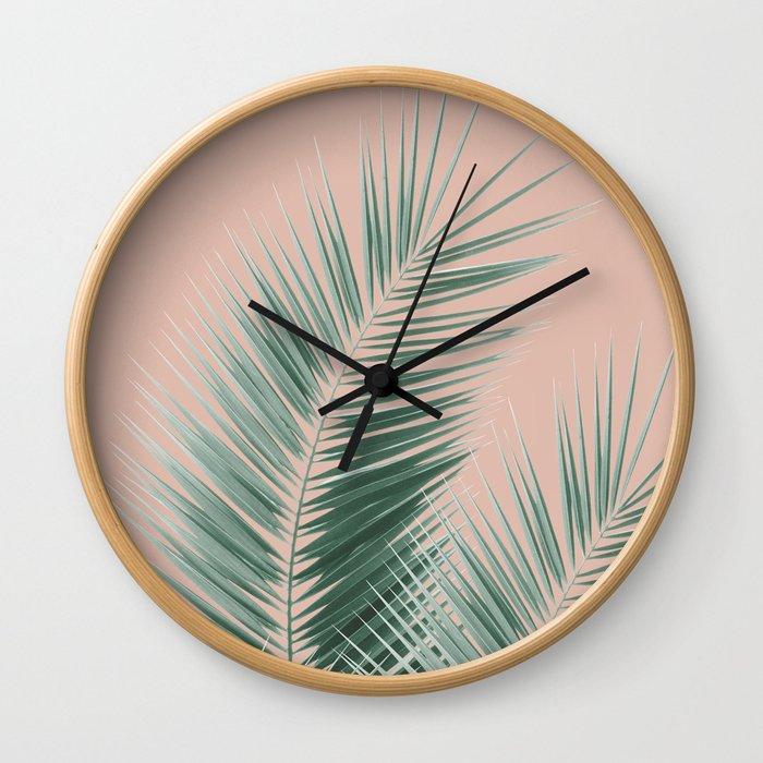 Soft Green Palm Leaves Dream - Cali Summer Vibes #1 #tropical #decor #art #society6 Wall Clock