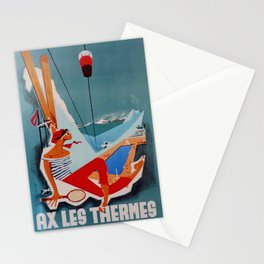 retro classic Ax Les Thermes poster Stationery Cards