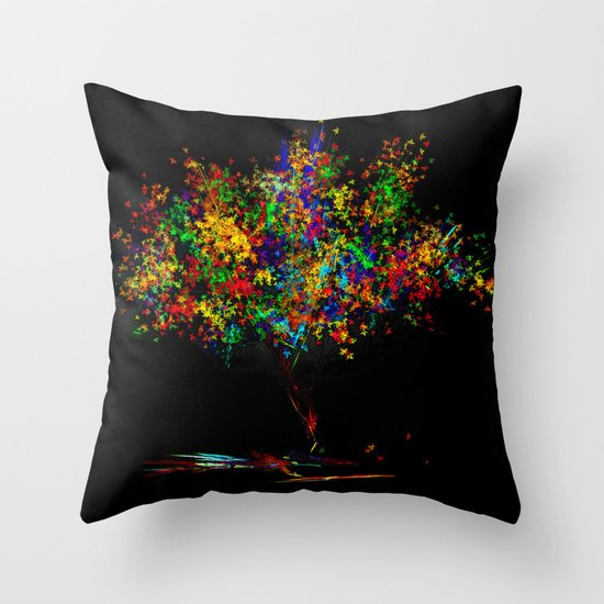 The Most Colorful Tree of the World Throw Pillow
