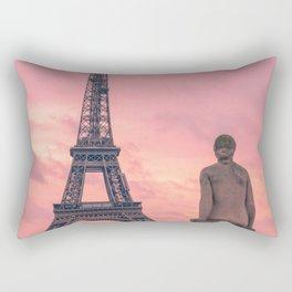 Pink View of Eiffel Tower Paris France Rectangular Pillow