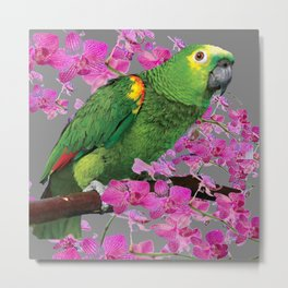 TROPICAL GREEN PARROT & FUCHSIA ORCHIDS  GREY ART Metal Print