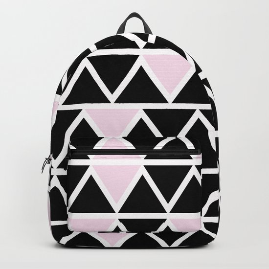 Abstract geometric triangle pattern- pink-black Backpack