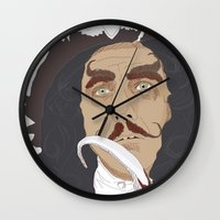 hook Wall Clocks featuring HOOK by Itxaso Beistegui Illustrations