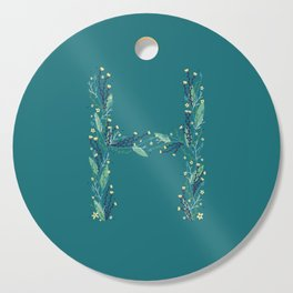 Turquoise flowers alphabet H Cutting Board
