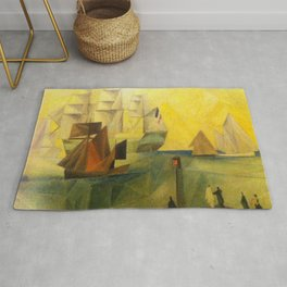 Tall Ships in the Harbor by Lyonel Feininger Rug