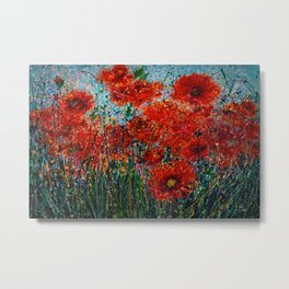 Wild Grass And Poppies Pollock Inspiration II Metal Print