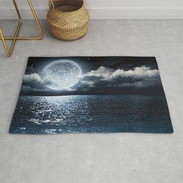 Full Moon over Ocean Rug