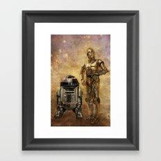 R2D2 and C3PO Framed Art Print