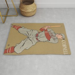 Vintage Cornell Baseball Print Rug