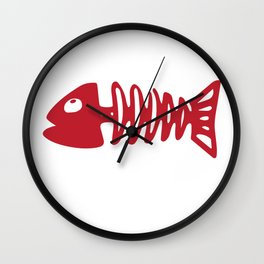 Valentines TShirt Fish Bone Wall Clock