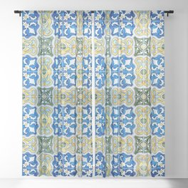 Seamless Floral Pattern Ornamental Tile Design : 6  blue, yellow Sheer Curtain