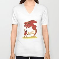 smaug V-neck T-shirts featuring How to Train your Smaug! by Loku
