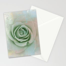 Elegant Painterly Mint Green Rose Abstract Stationery Cards