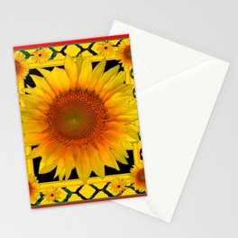 ORNATE SUNFLOWER RED-YELLOW PATTERN Stationery Cards