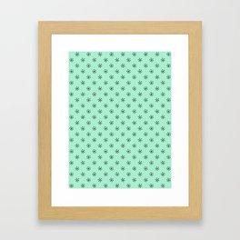 Black on Magic Mint Green Snowflakes Framed Art Print