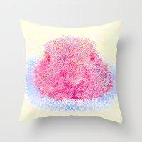 guinea pig Throw Pillows featuring Herr Guinea Pig by Heidi Fairwood