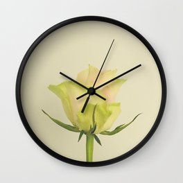 A single pink rose bud Wall Clock