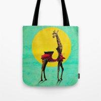giraffe Tote Bags featuring Giraffe by Ali GULEC