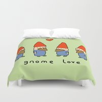 gnome Duvet Covers featuring Gnome Love by Sophie Corrigan