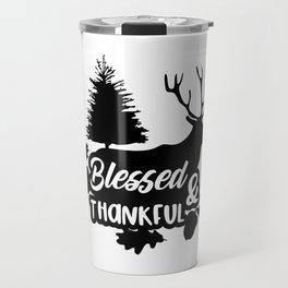 Blessed & Thankful Thanksgiving Elk Travel Mug