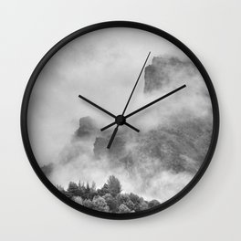 """The mountains are calling to me"". BW. Square Wall Clock"