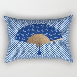 Japanese Fan, Dragonfly Pattern, Cobalt Blue Rectangular Pillow