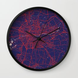Rennes, France, Blue, White, City, Map Wall Clock