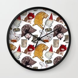 Crazy Cats Funny Meme Repeating Pattern Wall Clock