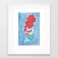 ponyo Framed Art Prints featuring Ponyo & Ariel by 20sideddesigns