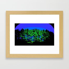 Mod Trees Blue & Green Framed Art Print