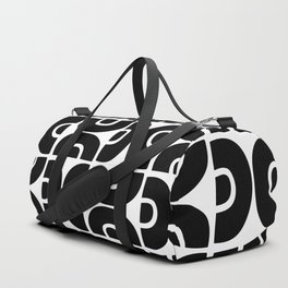 Groovy Mid Century Modern Pattern Black and White Duffle Bag