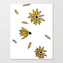 Falling Yellow Flowers Canvas Print