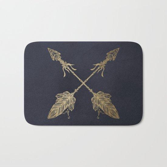 Arrows Gold Copper Bronze on Navy Blue Bath Mat