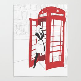 London Calling Fashion Phone Booth Girl Poster