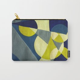 The Moon & The Night Sky Retro Abstract Art - Navy & Mustard Carry-All Pouch