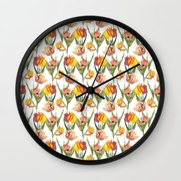 Vintage Floral Pattern | No. 3B | Tulips Wall Clock