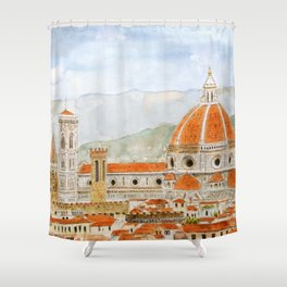 Italy Florence Cathedral Duomo watercolor painting Shower Curtain