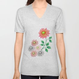 Sweet Dahlias Unisex V-Neck